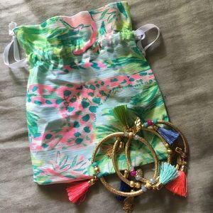 Lily Pulitzer Gold Tassle Bracelet Set